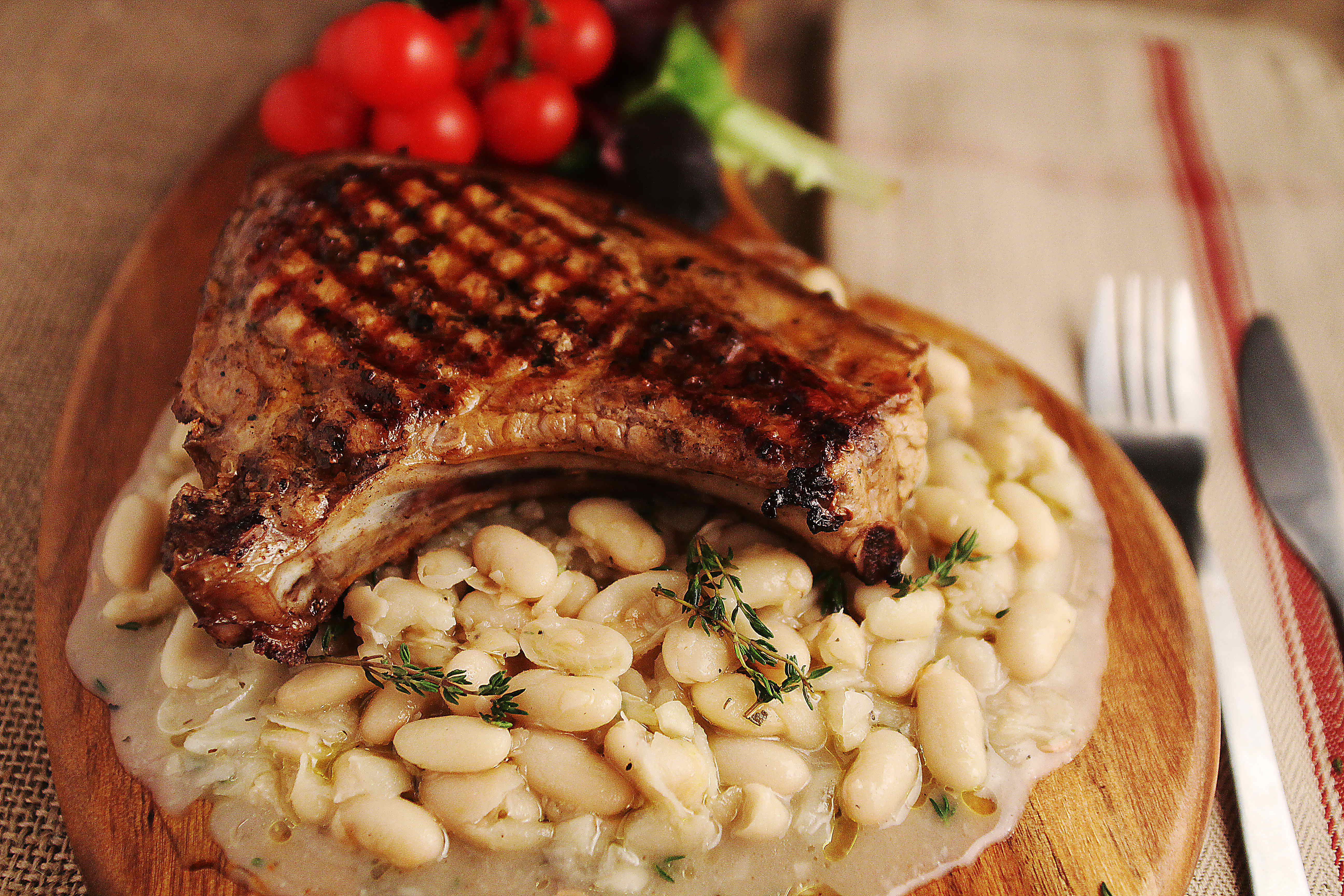 Italian Pork Chop with white beans - CountryWoodSmoke